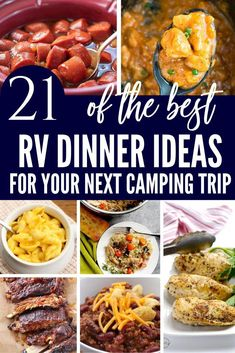 RV Dinner Ideas for your next camping trip! This is a great list for packing and planning meals to easily whip up in your RV. #RV #campingfood #RVlife #rvtips