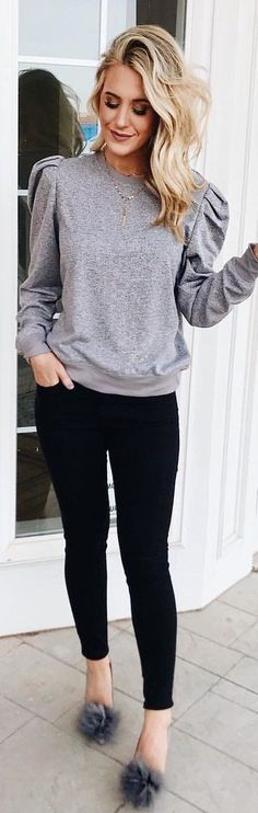 #winter #outfits gray crew-neck long-sleeved top and black leggings