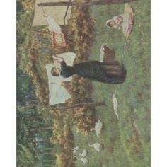Happy England 1904 The Clothes-line Canvas Art - Helen Allingham (24 x 36)