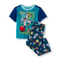 Baby Boys Short Sleeve 'Houston We Have A Problem' Astronaut Top And Space Print Pants PJ Set
