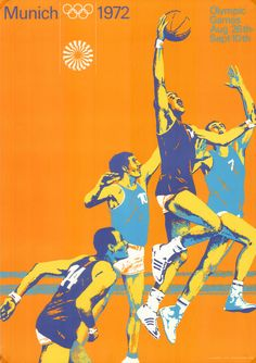 Otl Aicher Munich 1972 Olympics Basketball Poster by modmadmen Olympic Basketball, Basketball Posters, Olympic Sports, Olympic Games, Sports Posters, 1972 Olympics, Summer Olympics, Posters Vintage, Ideas