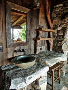 stone & log bathroom sink