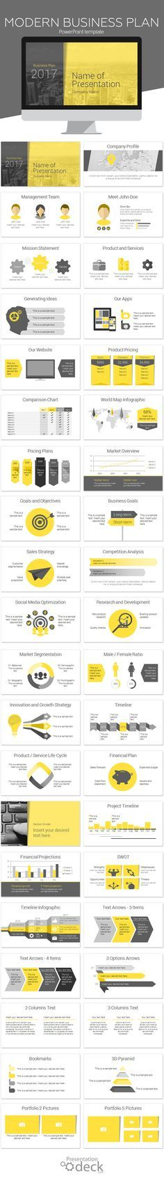 Modern business plan PowerPoint template with 40 pre-designed slides. This template is perfect for annual reports, business plan, financial statements, etc. Your audience will appreciate the consistent look and feel, a key factor to successful presentations!