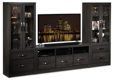 The Exeter entertainment wall unit in charcoal will entice your guests to stay awhile with its smokey, rich grey finish and contemporary flair. Entertainment Wall Units, Tv Decor, Home Decor, Sweet Potatoes For Dogs, Custom Cabinets, Custom Wood, Dark Wood, Online Furniture, Cool Designs