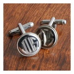 Personalized Silver Round Beaded Engraved Cufflinks