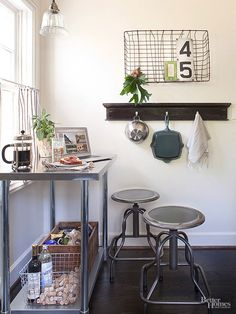 32 Ideas Add The Simple And Simple Farmhouse Decor For Your Small House, There's a lot you can do in order to your bathroom by employing ceramic tiles. To earn a small kitchen appear bigger, there ought to be a lot of kitch. Farmhouse Style Bar Stools, Farmhouse Decor, Farmhouse Ideas, Small Space Living, Small Spaces, Kitchen Dining, Kitchen Decor, Kitchen Island, Dining Table