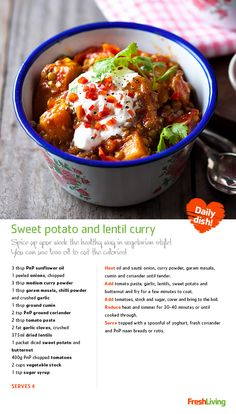 SWEET AND SPICY: A wholesome sweet potato and lentil curry enriched with vitamins, minerals and fibre** New Recipes, Vegetarian Recipes, Cooking Recipes, Sweet Potato Dishes, Curry Spices, South African Recipes, Biryani Recipe, Lentil Curry, Sweet And Spicy