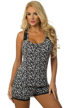 2cea157aa1 Alluring pajama set features a floral print top with lace straps