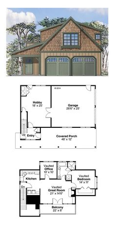 Garage Apartment Plan 41153 | Total Living Area: 946 sq. ft., 1 bedroom and 1 bathroom. #carriagehouse