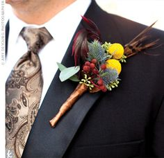 Feather and Craspedia Boutonniere