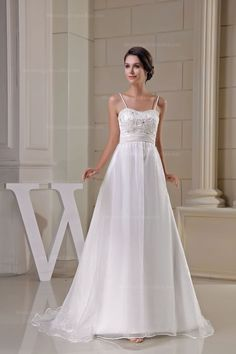 Pretty fine beaded lace top empire waist flowing organza wedding dress