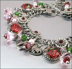 Rose Jewelry Silver Charm Bracelet Silver by BlackberryDesigns, $87.00