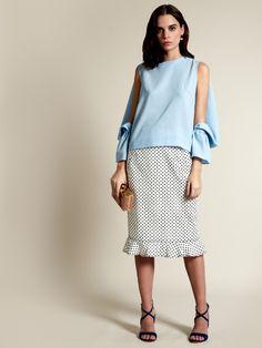 Osman Cut-out sleeve wool blouse