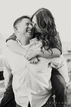 Playful engagement shoot in black and white