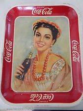 RARE Original Vintage SPANISH MEXICAN 1940 Coca Cola Serving Tray Sign Nice!