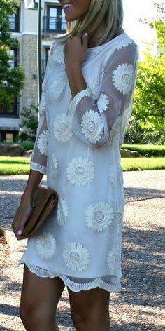 Organza Bonanza Embroidered Cream Dress