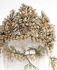 1880's French Antique Wax Orange Blossom Wedding Tiara Crown