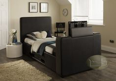 iMedia Black/Grey with Storage - 3ft Single TV Bed + FREE Delivery & Installation Tv Beds, Beds For Sale, Beds Online, King Size, Free Delivery, Mattress, Black And Grey, Bedroom, Storage
