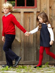 Vogue Enfants - love the coordinating colors and love red tights - would be cute for family pics
