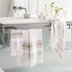 Herringbone Stripe Towels | The White Company