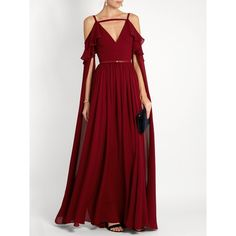 Elie Saab Ruffle-trimmed cut-out silk gown (7 235 AUD) ❤ liked on Polyvore featuring dresses, gowns, red cocktail dress, red ball gown, evening cocktail dresses, sparkly evening gowns and red evening dresses