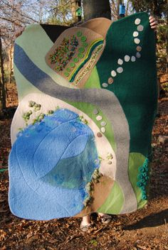 ON SALE 3'x4' Wool Waldorf Playmat, Seascape and Landscape