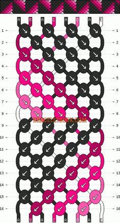 Normal friendship bracelet pattern added by CWillard. String Bracelet Patterns, Diy Bracelets Patterns, Diy Bracelets Easy, Embroidery Bracelets, Bracelet Designs, Bracelet Fil, Bracelet Crafts, Floss Bracelets, Friendship Bracelet Patterns
