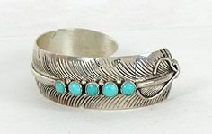 Authentic Native American Sterling Silver turquoise feather bracelet by Navajo Chris Charley