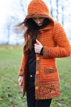 Svetre/Pulóvre - Orange d'orient - 7447823_ Crochet Coat, Crochet Cardigan Pattern, Crochet Jacket, Crochet Blouse, Easy Crochet, Knitting Designs, Crochet Designs, Sewing Clothes, Crochet Clothes
