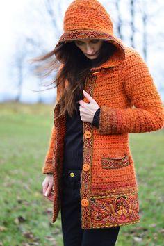 Crochet Coat, Crochet Cardigan Pattern, Crochet Jacket, Crochet Blouse, Easy Crochet, Crochet Designs, Knitting Designs, Crochet Patterns, Sewing Clothes