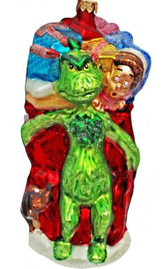 Vintage 1997 Christmas tree ornament from Christopher Radko features The Grinch Who Stole Christmas.