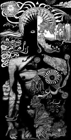 by Rick White (artist/musician) /rickwhitealbum Psychadelic Art, Arte Obscura, Psy Art, Occult Art, Arte Horror, Dope Art, Visionary Art, Art Inspo, Amazing Art