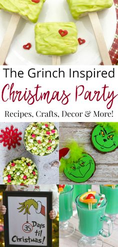 The Grinch is a Christmas classic and it makes the perfect party theme or Christmas decorating theme. I love all of these Grinch recipes crafts and decor ideas. Christmas Party Ideas For Teens, Grinch Christmas Decorations, School Christmas Party, Grinch Christmas Party, Christmas Party Themes, Christmas Food Gifts, Homemade Christmas Gifts, Kids Christmas, Preschool Christmas