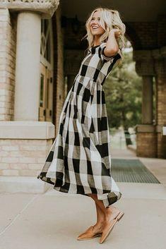 Maddie Buffalo Plaid Dress - - Maddie Buffalo Plaid Dress in Black Plaid Outfits, Plaid Dress, Boho Dress, Cute Outfits, Trendy Outfits, Modest Outfits, Modest Fashion, Casual Dresses, Fashion Outfits