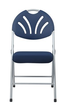4 FC Series Blue Grey Plastic Fan Back & Fabric Seat Folding Chairs