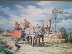 donkiekar Poppy Flower Painting, African Art Paintings, Countryside, Poppies, Donkeys, Pastel, Flowers, Windmills, Cards