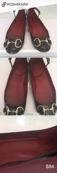 100% AUTHENTIC Gucci shoes - youth/girls Size - 5B Super cute and girly!! Upper shoe looks great with no nicks in the patent leather. Soles worn Gucci Shoes Flats & Loafers