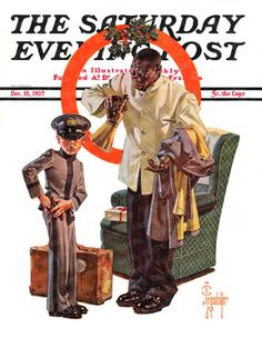 Tipping The Porter by J. C. Leyendecker, Dec. 18, 1937, Saturday Evening Post.
