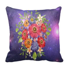 Beautiful Floral Bouquet Under The Stars. Throw Pillow