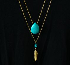 Turquoise and Gold Feather Long Necklace Double by PollyAJewellery