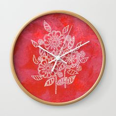 """Good times! Rethink the traditional timepiece as functional wall decor. You'll love how our Artists are converting some of their coolest designs specifically into Wall Clocks. Constructed with premium, shatter-resistant materials, with three frame color options. - Natural wood, black or white frame options - Dimensions: 10"""" diameter, 1.75"""" depth - Choose black or white hands to match frame or design - High-impact plexiglass crystal face - Backside hook for easy hanging Wall Clocks, Flower Wall, Handicraft, Natural Wood, Good Times, Pink Flowers, Cool Designs, About Me Blog, Wall Decor"""