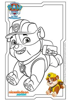 Paw Patrol Ausmalbilder - Rubble rennt Paw Patrol Coloring Pages, Quote Coloring Pages, Cool Coloring Pages, Cartoon Coloring Pages, Coloring Pages For Kids, Adult Coloring, Rubble Paw Patrol, Disney Princess Coloring Pages, Disney Princess Colors