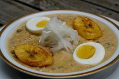 Fanesca ecuatoriana or Ecuadorian Easter soup  ...  Fanesca is an Ecuadorian soup or stew made only during Easter, it is made with bacalao, squash, fava beans, chochos, corn, peas, porotos or fresh beans, rice, onions, garlic, cumin, achiote, peanuts, milk, cream and