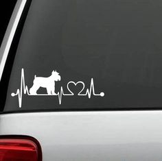 """Is your Schnauzer the love of your life? Show Your Love With This Exclusive Schnauzer HeartBeat Design Handmade in the USA decal for Car, Van, SUV and Truck! Decal measures 7"""" wide x 4"""" tall The stick"""