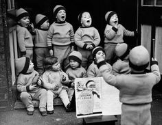 December Children from the Homeless Children's Aid Society, seen here rehearsing for their Christmas party - Robert Doisneau Robert Doisneau, Charity Christmas Cards, Christmas Carol, Xmas, Vintage Photographs, Vintage Photos, Henri Cartier Bresson, Photo Portrait, French Photographers
