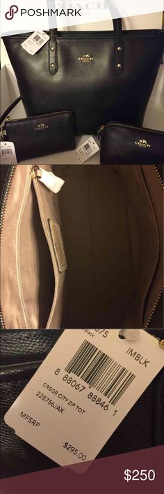 Coach 4 pieces price drop for cyber Monday reg 365 Coach 4 piece set.  Tote, Wallet, Wristlet, Cosmetic Bag Coach Bags Totes