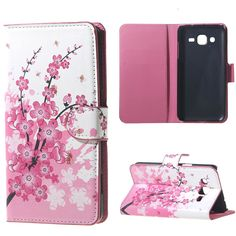 For Galaxy J3 case Plum Magnetic Leather wallet Stand Cover Case for Flip Samsung Galaxy J3 J300 J3000 Coque funda