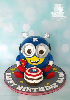 Captain America Minion Cake - Cake by Rose Dream Cakes