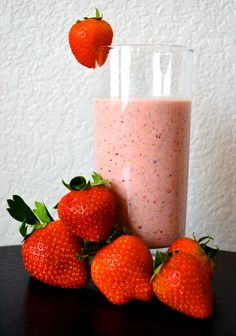 A smoothie that's actually filling enough for breakfast or lunch! Strawberries, peanut butter, oats, and almond milk.