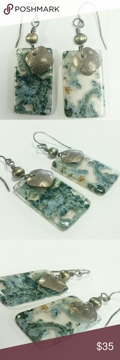 "Moss Agate FW Pearl Sterling Silver 925 Earrings Moss Agate, Freshwater Pearl and Sterling Silver 925 French Hook Earrings. Moss Agate is one of the most beautiful and unique varieties of agate in the world. It is beloved for its organic, ""mossy"" appearance, which delights lovers of nature and natural wonder; no two pieces of it are exactly alike and each is its own work of art. This lovely pair of Earthy earrings have two beautifully polished translucent Moss Agate rectangular slabs with…"